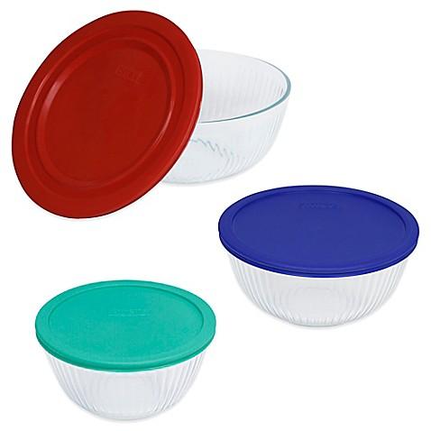 Pyrex® 3-Piece Glass Mixing Bowls with Lids Set - Bed Bath ...