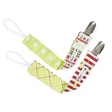 image of Ziggy Baby™ 2-Pack Merry & Bright Pacifier Clips