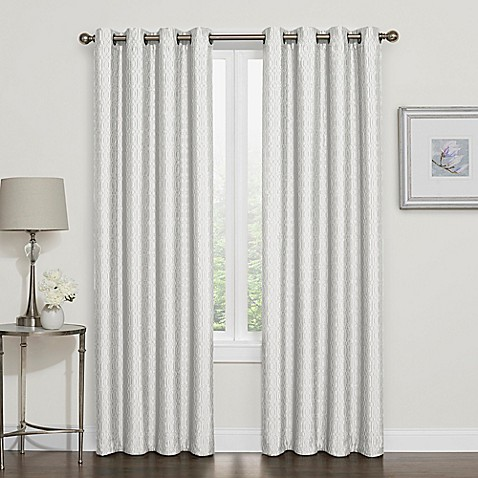 buy darcy 95 inch room darkening grommet top window curtain panel in white from bed bath beyond. Black Bedroom Furniture Sets. Home Design Ideas