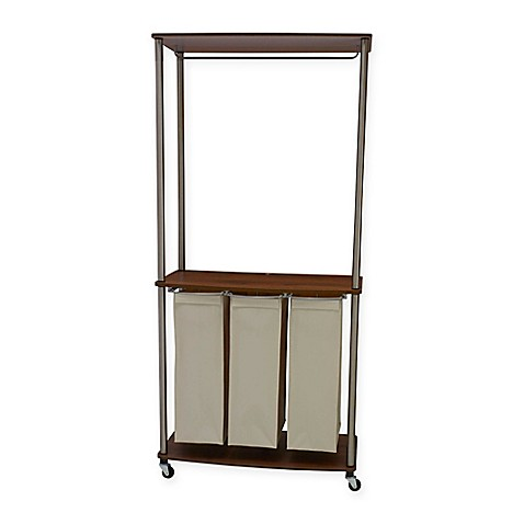 Household Essentials® Laundry Center Sorter with Hanging Rod in Medium Walnut