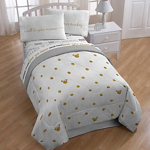 Disney 174 Minnie Twin Full Comforter In Gold Dots From Buy