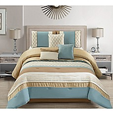 image of Ulema Comforter Set in Ivory/Blue