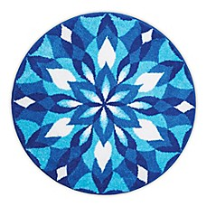 image of Grund Mandala Ice Castle Designer Round Bath and Accent Rug in Blue