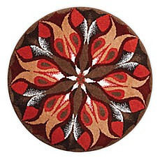 image of Grund Passion Designer Mandala Round Bath and Accent Rug in Red/Brown