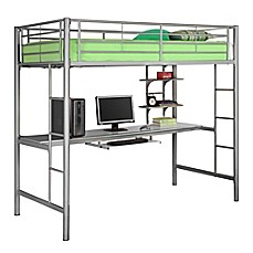 image of Walker Edison Twin Loft Bed with Workstation