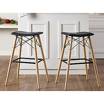 Image Of Walker Edison Retro Faux Leather Stools In Black
