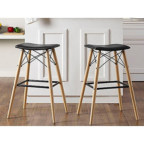 Walker Edison Retro Faux Leather Stools In Black Bed