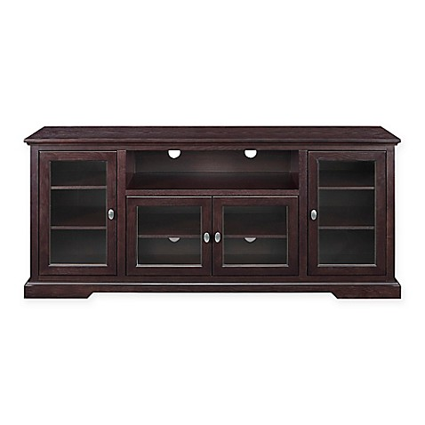 buy walker edison 70 inch highboy style wood tv stand in espresso from bed bath beyond. Black Bedroom Furniture Sets. Home Design Ideas