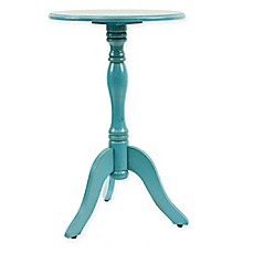 image of Decor Therapy Round Pedestal Accent Table in in Turquoise