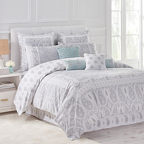 home luna reversible comforter set in greywhite