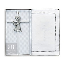 image of Elegant Baby Embroidered Bible and Cross Gift Set