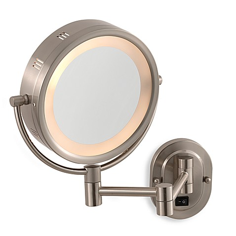 Jerdon 5x 1x Nickel Lighted Hardwired Wall Mount Mirror
