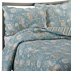 image of Natural Shells Reversible Quilt in Blue/Beige
