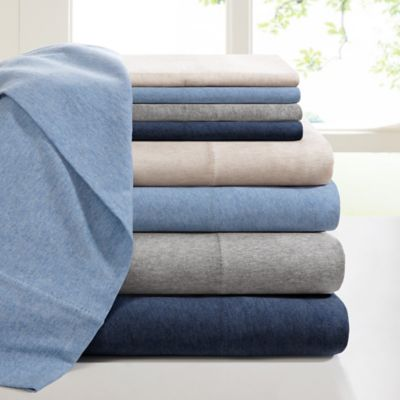 Patterned Jersey Knit Sheets : INK+IVY Heathered Cotton Jersey Knit Sheet Set - Bed Bath & Beyond