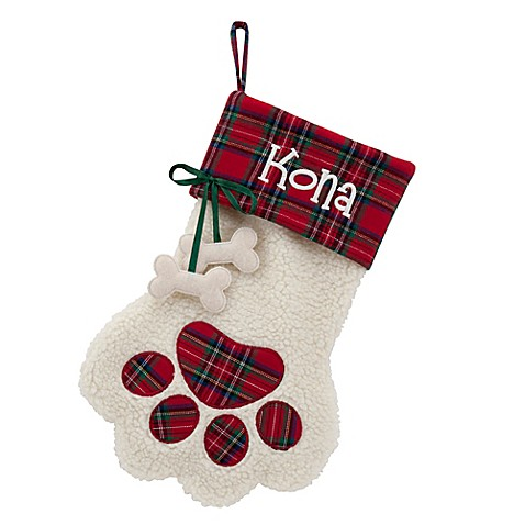 puppy paws 15 inch christmas stocking with dog bone in red bed