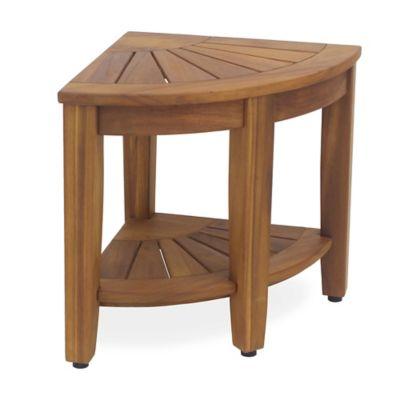 image of solid teak corner vanity stool