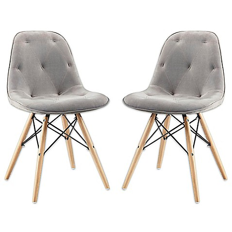 Walker Edison Upholstered Eames Style Dining Chairs Set
