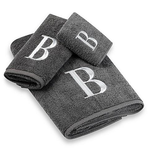 Avanti Premier Silver Block Monogram Hand Towels In Granite Bed Bath Beyond