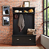 crosley furniture seaside hall tree in distressed black