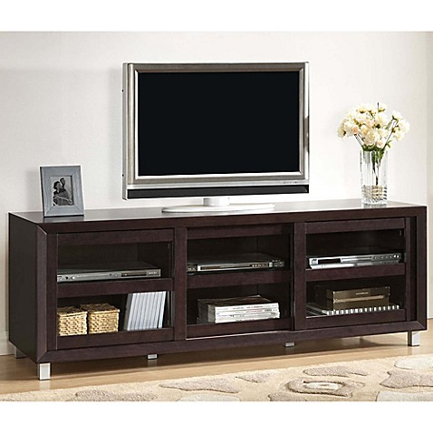 Buy wholesale interiors inc pacini modern tv stand in dark brown from bed bath beyond for Wholesale interiors baxton studio 71 tv stand