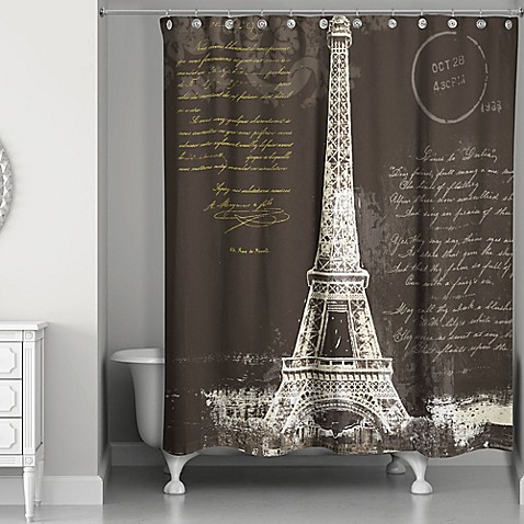 Designs Direct Painterly Paris Shower Curtain In Black/White