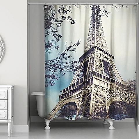 Designs Direct Hazy Eiffel Tower Shower Curtain Bed Bath