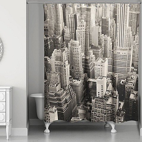 Designs Direct New York City Shower Curtain In White Grey Bed Bath Be