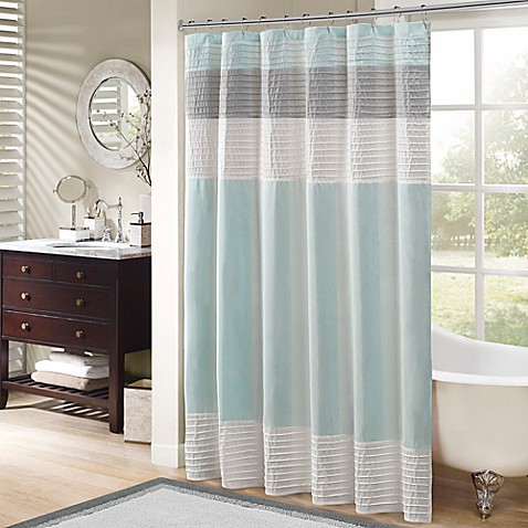 Madison Park Amherst 72 Inch Shower Curtain In Aqua Bed