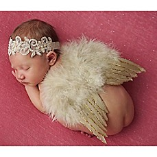 image of Tiny Blessings Boutique Newborn Champagne Headband and Wing Set in Tan/Gold
