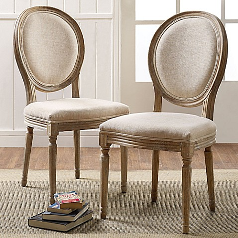 Buy Shiraz Linen Oval Back Chairs In Natural Set Of 2