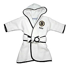 image of Designs by Chad and Jake NHL Boston Bruins Personalized Hooded Robe in White