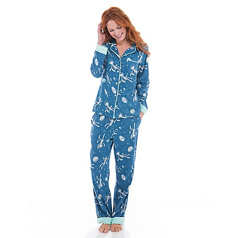 Women 39 s sock monkey in space flannel pajama set in blue for Space flannel