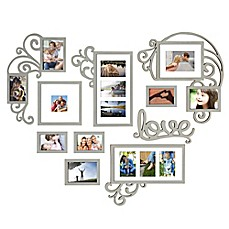 image of WallVerbs™ 10-piece Heart Love Scroll Photo Frame Set in Silver