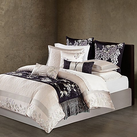 buy natori wisteria king quilted duvet cover in light grey from bed bath beyond. Black Bedroom Furniture Sets. Home Design Ideas