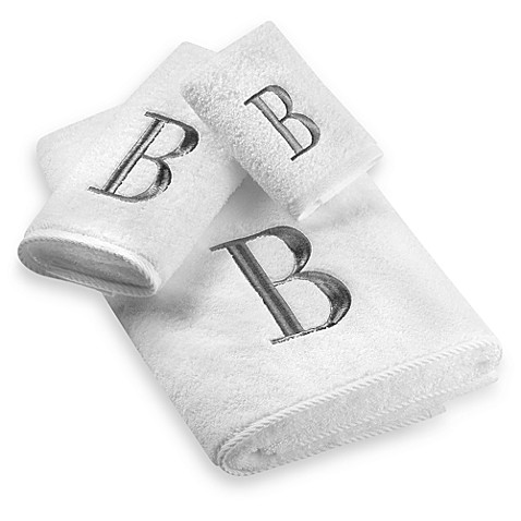 Avanti Premier Silver Block Monogram Bath Towel Collection in White