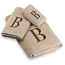 image of Avanti Premier Brown Block Monogram Bath Towel Collection in Linen