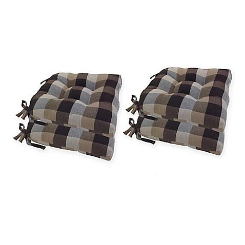 Exceptionnel Arlee Home Fashionsu0026reg; Buffalo Plaid Chair Pad In Chocolate (Set ...