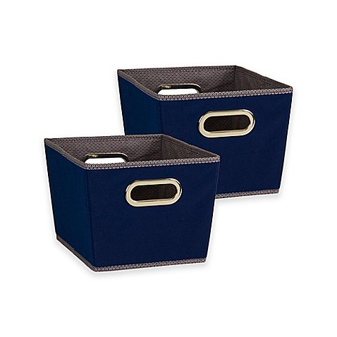 Buy household essentials tapered dobby small storage bins for Navy bathroom bin