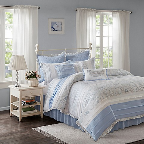 Madison Park Mirabelle 9 Piece Comforter Set In Blue Bed