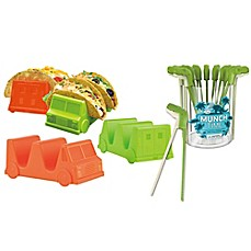 image of Fred & Friends® Taco Truck™ Tray and Munchtime™ T-Rex Chomping Chopstick Food Bundle