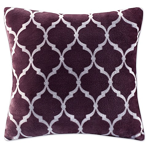 Buy Madison Park Ogee Reversible Square Throw Pillow in Purple from Bed Bath & Beyond