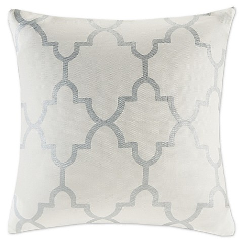 Buy Madison Park Saratoga 20-Inch Square Decorative Pillow in Ivory/Silver from Bed Bath & Beyond
