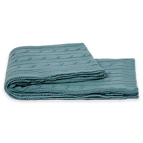 Buy Flora Cashmere Ivy Cable Knit Throw Blanket In Lake