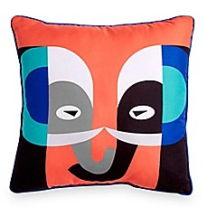 image of Scribble Elephant 16-Inch Square Throw Pillow in Orange