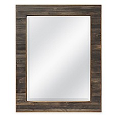 Image Of Walnut Plank 235 Inch X 295 Rectangular Mirror In Brown