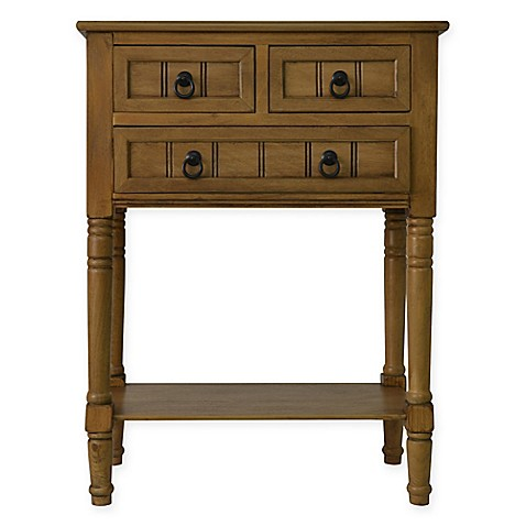 Buy jimco 3 drawer console table in honey pine from bed for Small bathroom accent tables