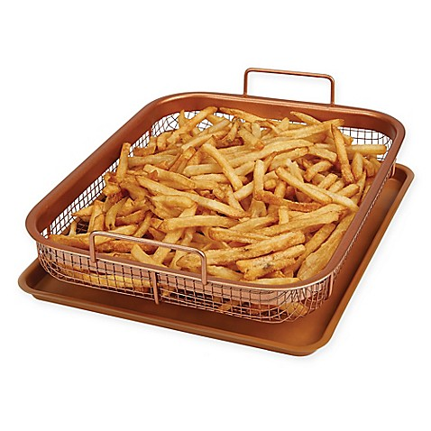 2 Piece Copper Crisper By Copper Chef Oven Air Fryer Pan