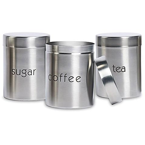 basic essentials 3 piece stainless steel canister set bed bath beyond. Black Bedroom Furniture Sets. Home Design Ideas