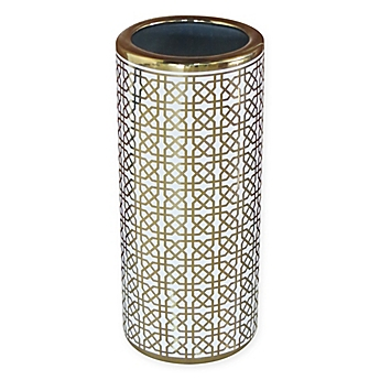 Image Of Ceramic Trellis Umbrella Stand In Gold White