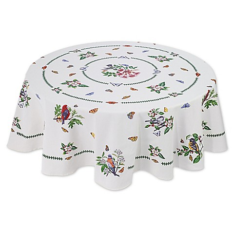 Buy Botanical Birds 70 Inch Round Tablecloth In Ivory From